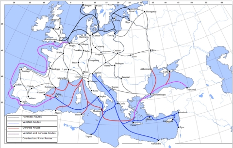 "Figure 1: Lampman, ""Map showing the main trade routes of late medieval Europe…,"" March 28, 2008 via Wikipedia, Creative Commons Attribution."