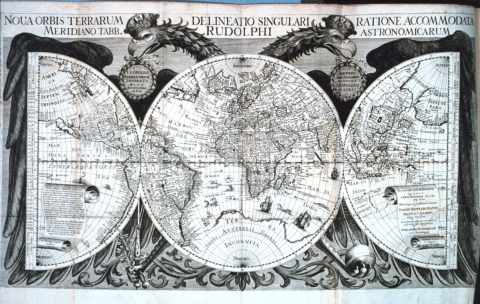 "Figure 2. A depiction of the globe by astronomer and mathematician Johannes Kepler, titled ""World map in: ""Tabulae Rudolphinae: quibus astronomicae ...."" by Johannes Kepler, 1571-1630."" This Archival Photograph was taken by Mr. Steve Nicklas, NOS, NGS from the Treasures of the NOAA Library Collection."