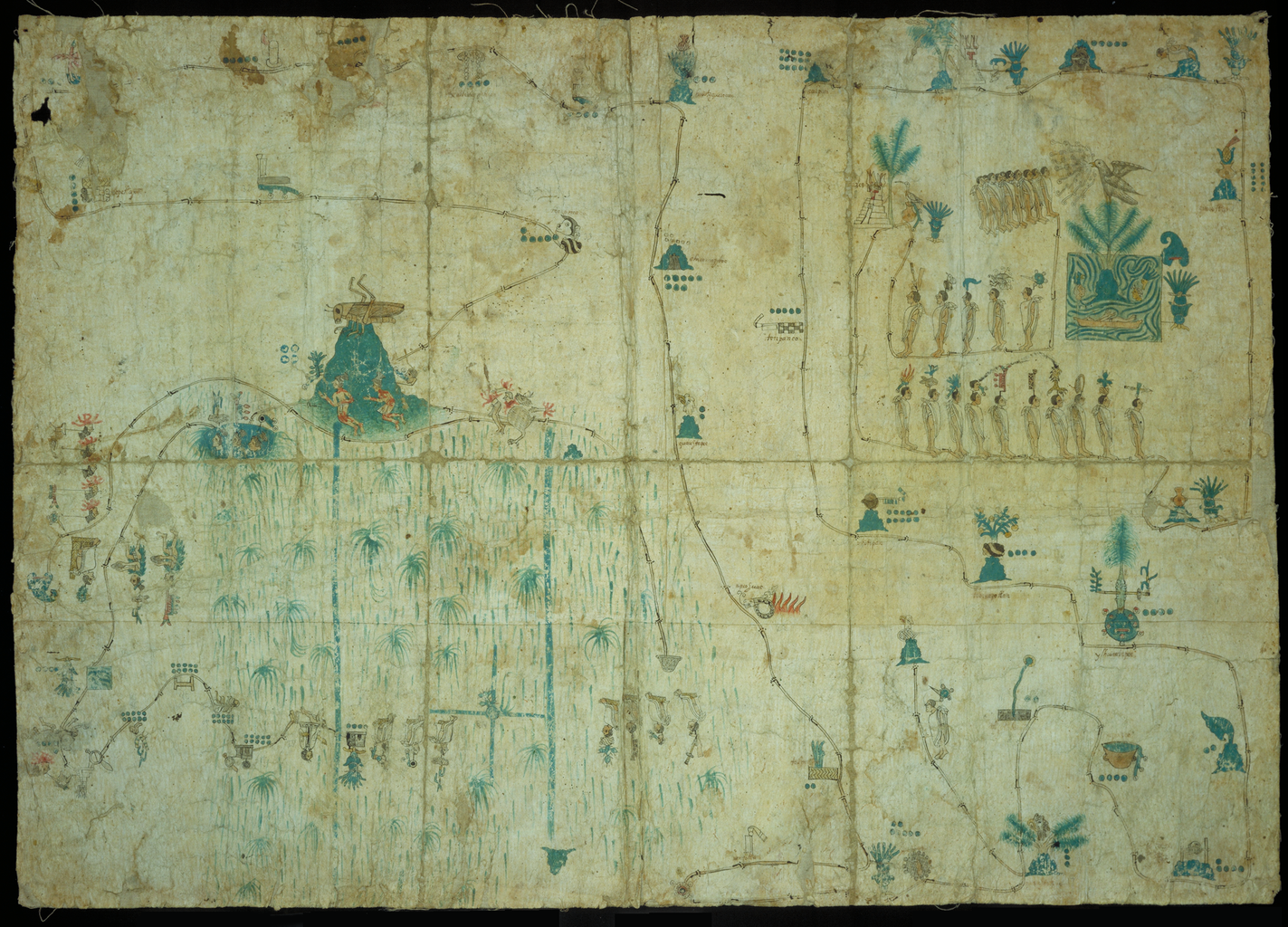 Mapping the americas teaching the globe native mesoamerican map from the late sixteenth century depicting the culhua mexicas on their way from their homeland of aztlan to the valley of mexico sciox Images