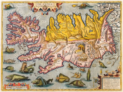 Title: Abraham Ortelius's Map of Iceland, 1590. Source: https://commons.wikimedia.org/wiki/File:Abraham_Ortelius-Islandia-ca_1590.jpg